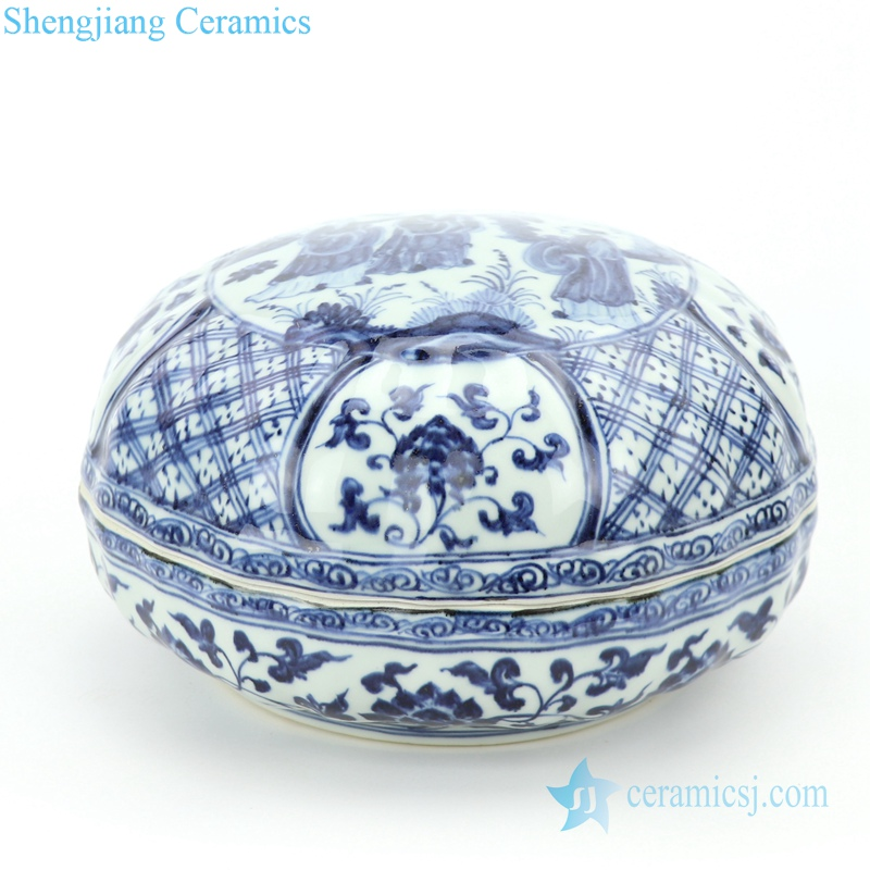 delicate blue and white covered ceramic jar