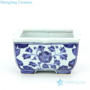 RZHL39 Traditional blue and white ceramic with flower design square flower pot