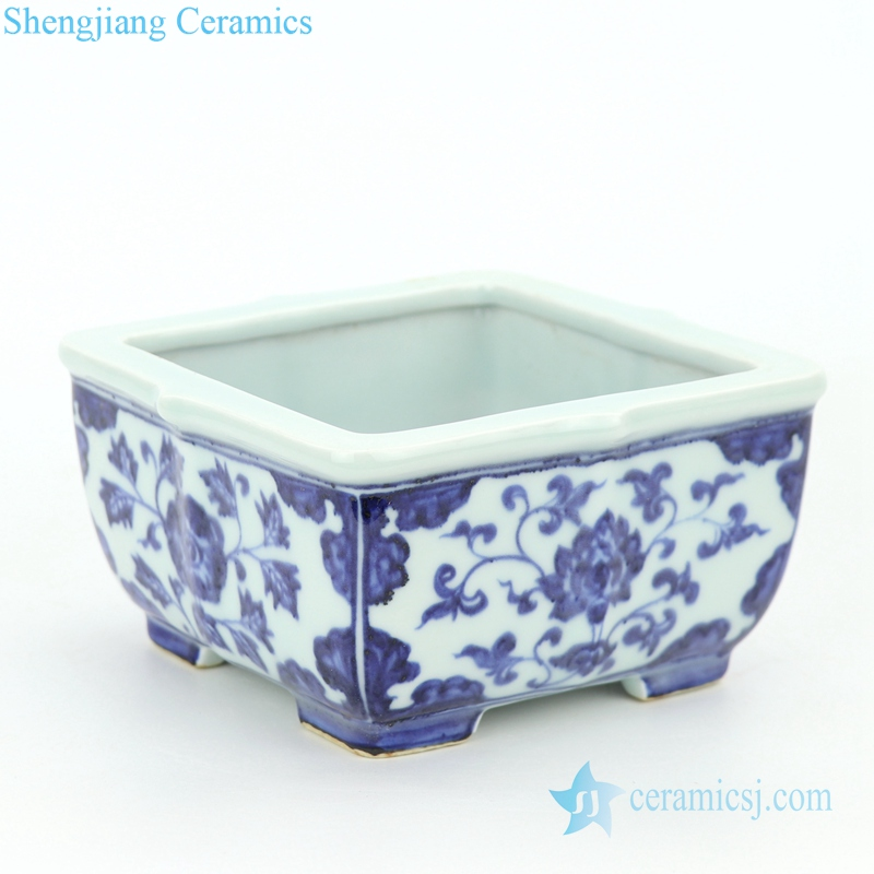 floral ceramic with four sides flower pot