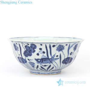 RZHL40  Shengjiang ancient ceramic with fish and water weed decoration bowl