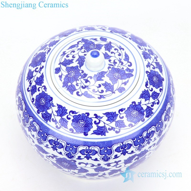 blue and white ceramic tea jar with lid