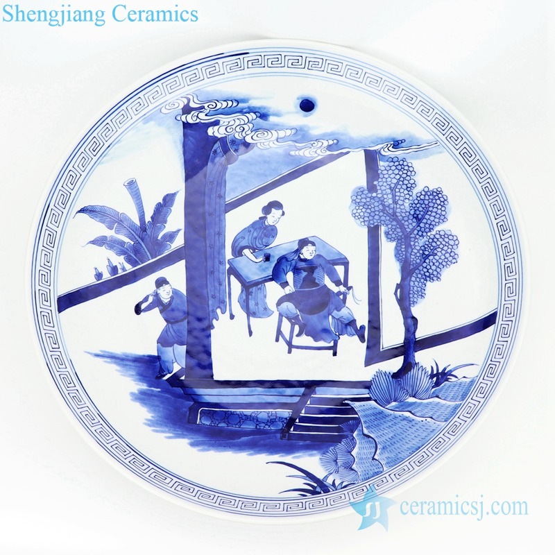 blue and white tree design plate