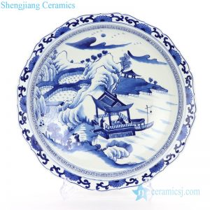 RZKS16 Blue and white ceramic with landscape and portraiture design plate
