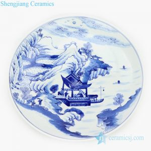 RZKS17 Shengjiang pure hand painted ceramic with mountain design plate