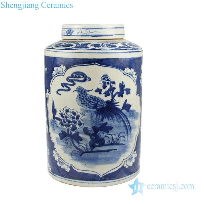 antique blue and white ceramic tea jar