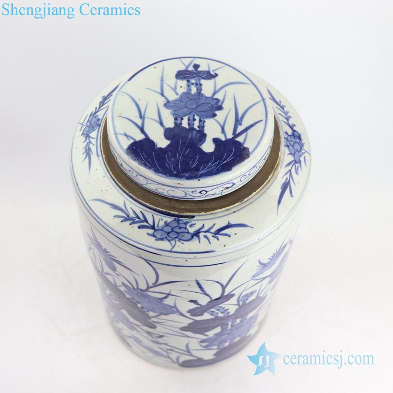 floral design ceramic tea jar