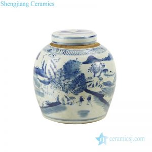 RZKT04-E Pure hand drawing landscape design ceramic tea jar