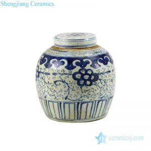 RZKT04-F Shengjiang company interlocking branches of peony design ceramic tea jar