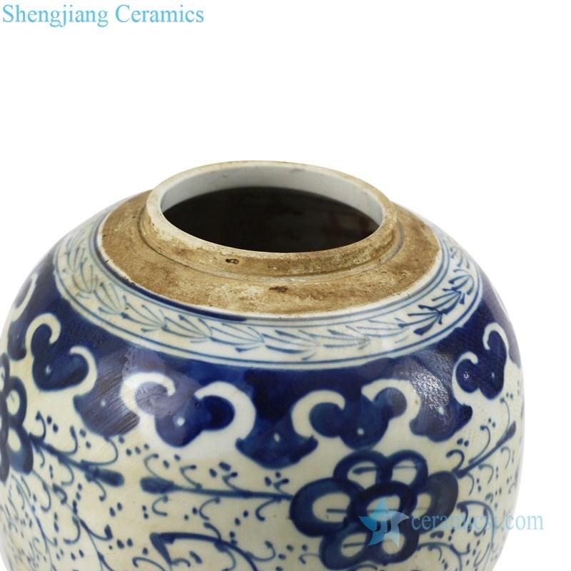 chinese peony design ceramic tea jar
