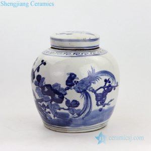 RZKT04-H Hand craft flower and bird design ceramic tea jar