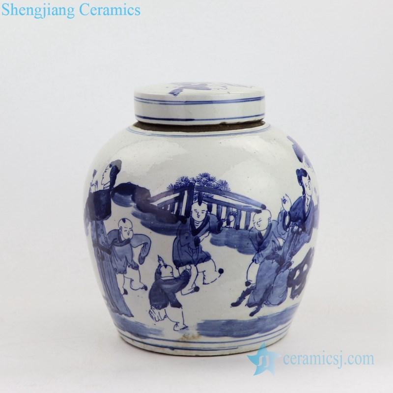 free hand drawing ceramic tea jar