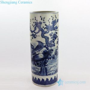 RZKT09-D Blue and white floral and bird design ceramic umbrella stand