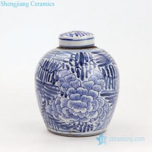 RZKT10-E Free hand drawing chinese peony design porcelain tea jar