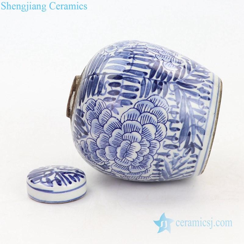 beautiful peony design ceramic tea jar