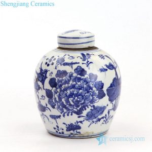 RZKT10-F High quality never fade flower design ceramic tea jar with lid