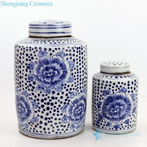RZKT13-A/RZKT11-G Shengjiang best selling fantastic peony design ceramic tea jar