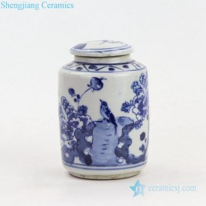 RZKT15 Round covered bird design blue and white porcelain jar