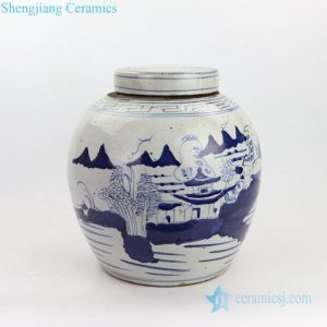 RZKT19-B Traditional fantastic landscape design ceramic jar