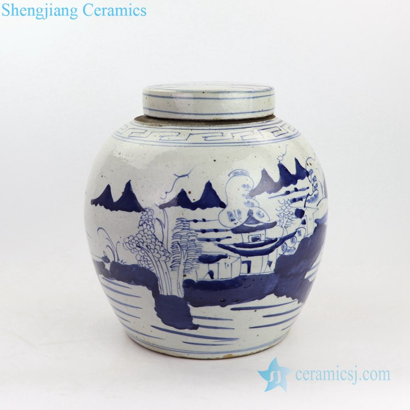 free hand drawing ceramic jar