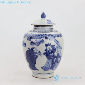 RZKT21-B Blue and white three lucky men design ceramic jar