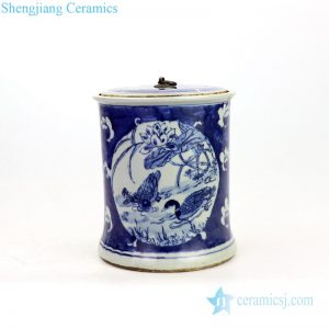 RZKT22 Shengjiang factory lotus design ceramic tea jar
