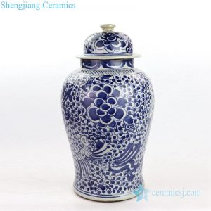 RZKT24-A Antique interlocking branches of peony design ceramic ginger jar
