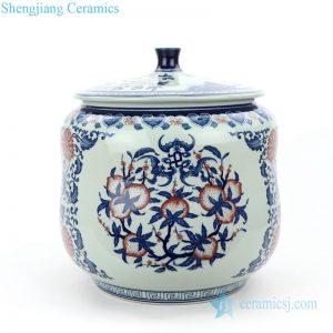 RZLG46 Exquisite underglaze red chinese birthday peach design porcelain tea jar