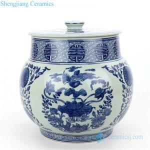 RZLG47 Nature flower and bird design ceramic tea jar