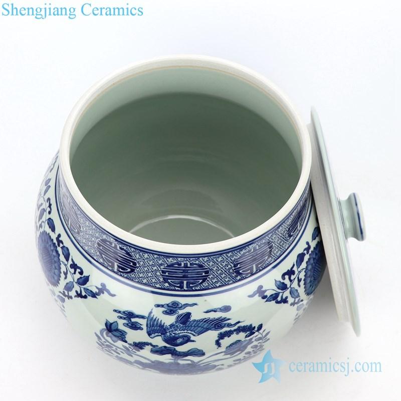round covered ceramic tea jar