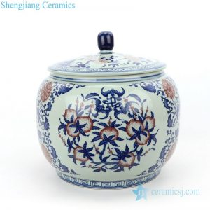 RZLG48 Hot sale round covered fruit design porcelain tea jar