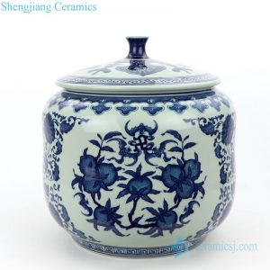 RZLG49 Chinese classical blue and white never fade ceramic tea jar