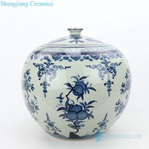 RZLG51 Global shape wholesale peach design ceramic tea jar