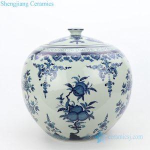 RZLG51 Global shape wholesale peach design ceramic tea jar