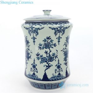 RZLG52 Free hand painted blue and white ceramic tea jar