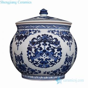RZLG53 Asian style ceramic with fish design tea jar
