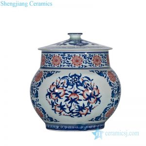 RZLG54 High temperature fired underglaze red porcelain tea jar with lid