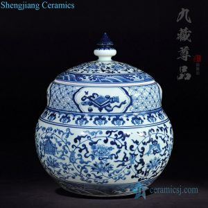 RZLG55 Antique blue and white special shape ceramic tea jar