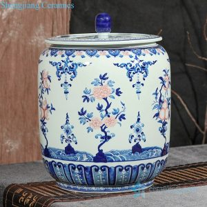 RZLG56 Hand made beautiful flowers design porcelain tea jar
