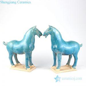 RZLN03 Deep green home decorative ceramic twin horses figurine