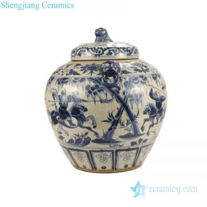 RZLP01-A-C Classical two handles ceramic with portraiture and horse design tea jar