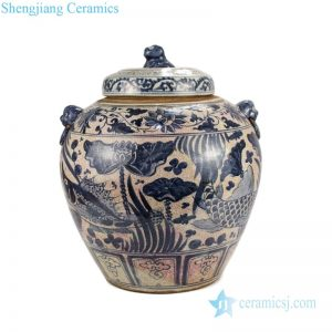 RZLP01-B-C Blue and white ceramic with lotus and fish design tea jar