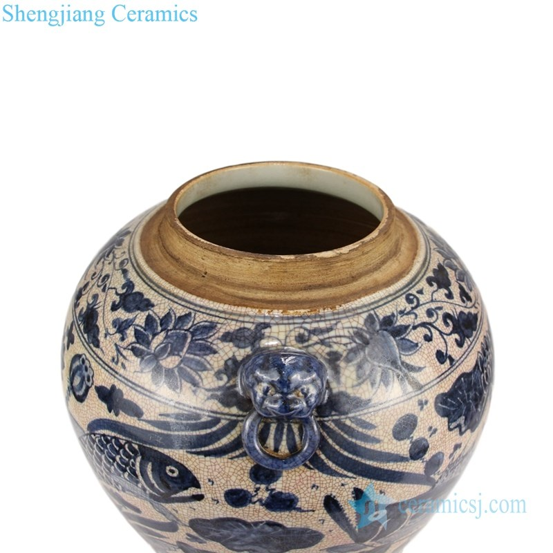covered lotus ceramic tea jar