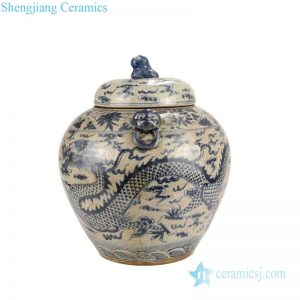 RZLP01-C-C Beautiful blue and white ceramic with cloud and dragon design tea jar