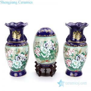 RZMF02 Glossy polychrome set of three ceramic decorative vase