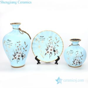RZMF03 European style three piece of home decorative ceramic with flower design vase