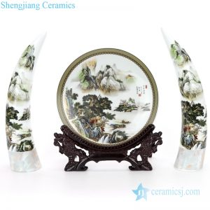RZMN03 Simple style set of three ceramic with landscape design decorative ivory and plate