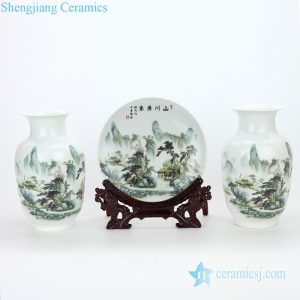 RZMN04 Jingdezhen pure manual three piece of ceramic with beautiful scenery design vase and plate