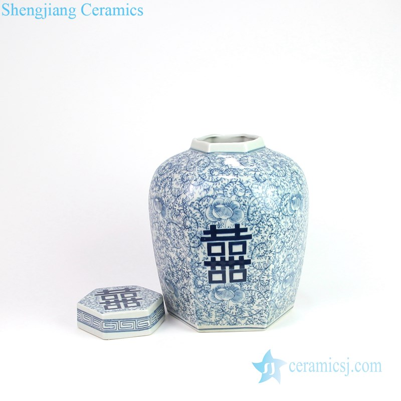 six sides mouth ceramic jar