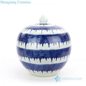 RZMV35 Hand painted round blue and white ceramic tea jar