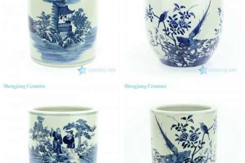 RZMW067-AB China blue and white hand painting bird floral man pattern ceramic vase